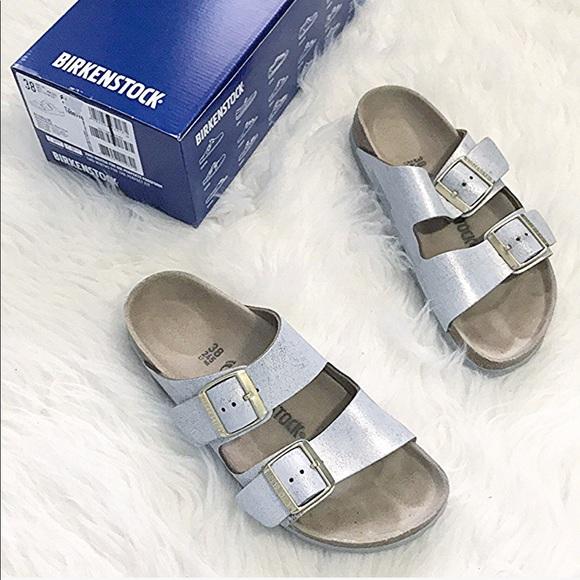 671b8ecd15f Birkenstock Shoes - Birkenstocks washed blue metallic silver Arizona